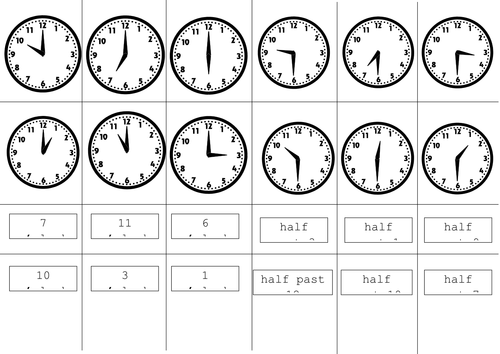analogue o'clock half past cut and stick by ptaylor - Teaching ...