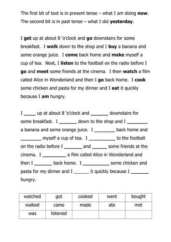 A Tense Worksheet By Dan0ish Teaching Resources Tes