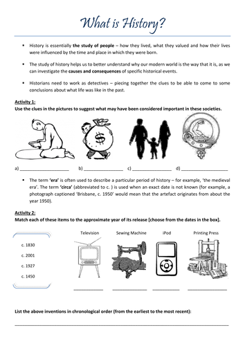 39 What Is History 39 Introductory Worksheet By Claireebolton