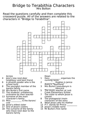 Worksheets Bridge To Terabithia Worksheets bridge to terabithia character crossword by claireebolton teaching resources tes