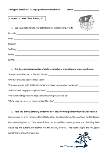 Worksheets Bridge To Terabithia Worksheets bridge to terabithia language elements worksheet by claireebolton teaching resources tes