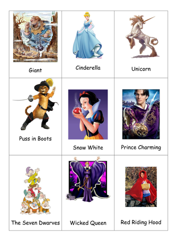 Fairytale character cards possibly for charades