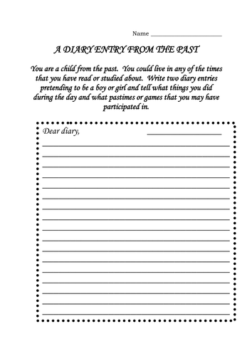 Diary entry from the past young and old by dmk1969 for Diary writing template ks1