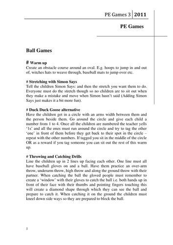 Pe games fun outdoor lesson plans of games by isaacreedy45 - Game design lesson plans for teachers ...