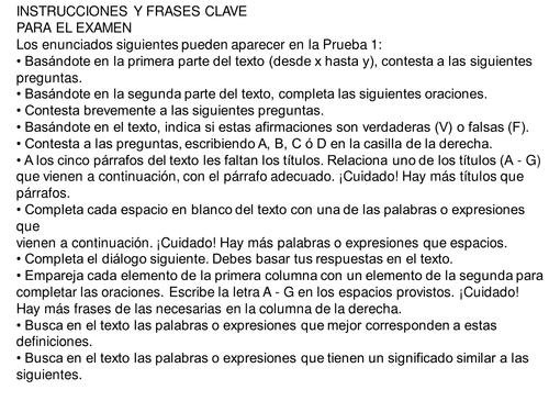 IB Ab initio Spanish text types paper 2