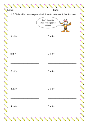 Repeated Addition Worksheet By Flicktrimming Teaching Resources Tes