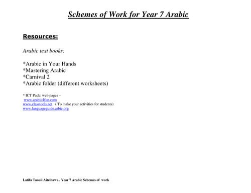 Scheme of work for Year 7 Arabic
