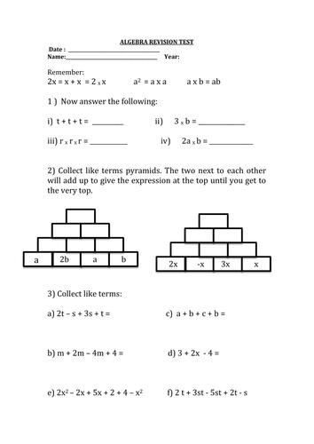 algebra revision test ks3 word document teaching. Black Bedroom Furniture Sets. Home Design Ideas