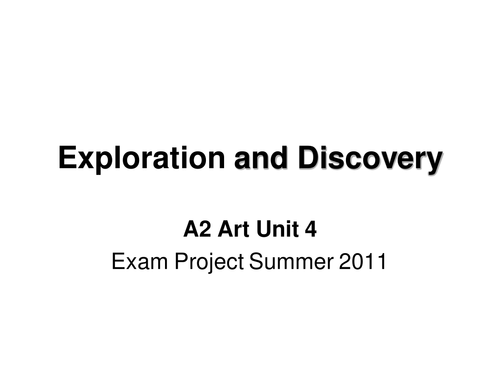 'Exploration and Discovery' Edexcel A2 exam 2011