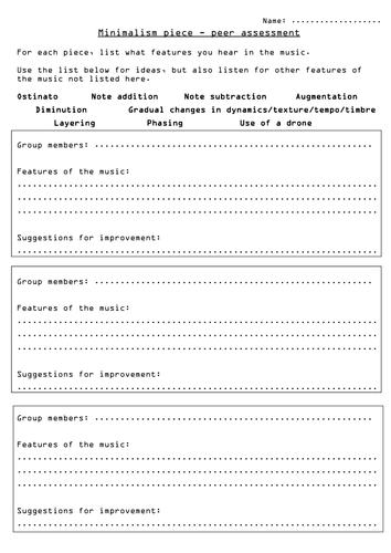 Minimalism composition peer assessment