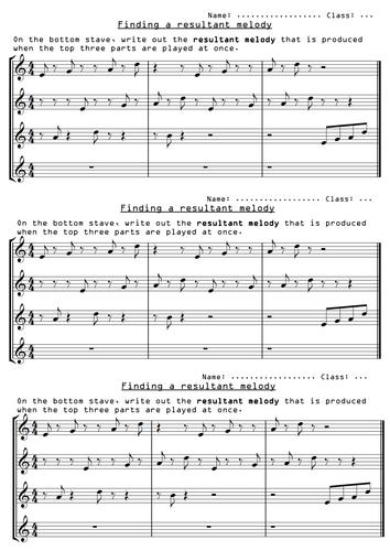 Minimalism 'resultant melody' task