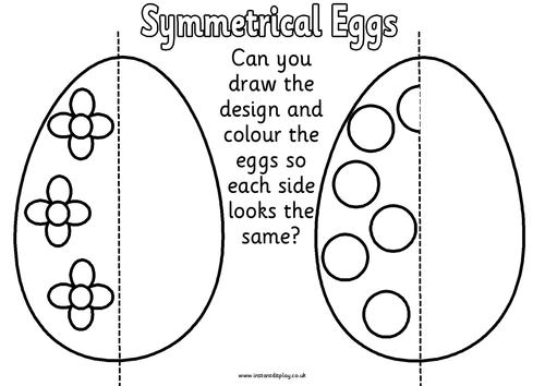 Spring Symmetry Worksheets,eggs,butterfly, flowers by Felt