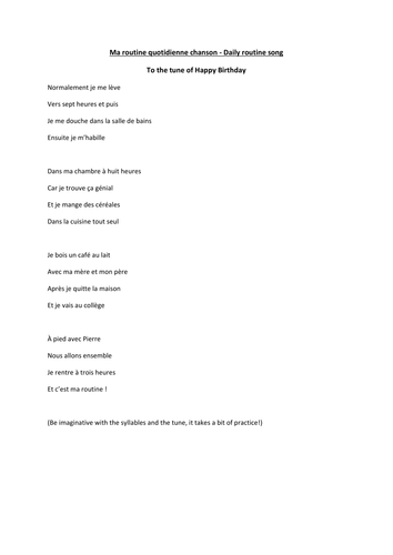 Ma Routine Quotidienne Song Lyrics Teaching Resources