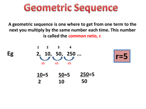 Finding the nth term of geometric sequences by lizzyld | Teaching