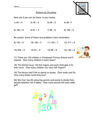 Division Chunking Method Worksheet by mad80 | Teaching Resources