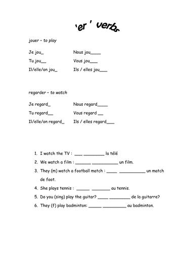 er verbs worksheet and starter by jn310 teaching resources. Black Bedroom Furniture Sets. Home Design Ideas