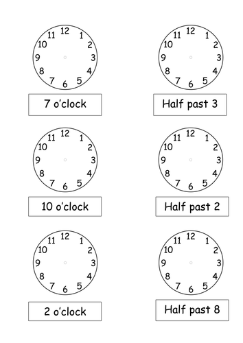 O\'clock and Half past times by pickup01 - Teaching Resources - Tes
