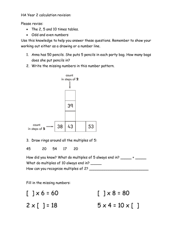 Calculation Revision worksheets and smartboard