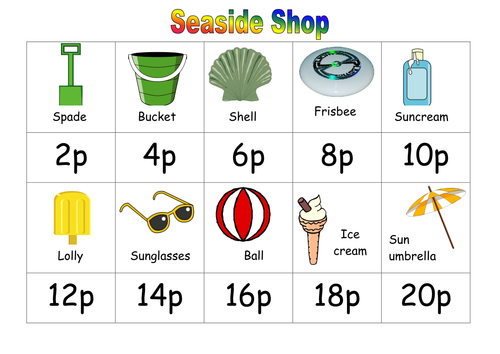 numeracy money seaside shop by ruthbentham teaching resources. Black Bedroom Furniture Sets. Home Design Ideas