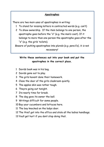 Using apostrophes by claire.tunnicliffe | Teaching Resources