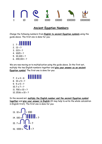 Egyptian Maths By Clairetunnicliffe Teaching Resources Tes