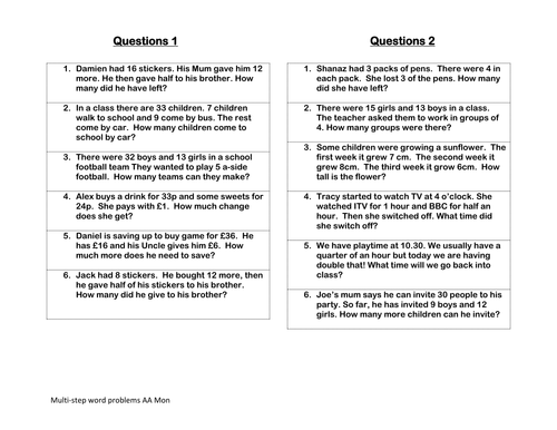 Multistep word problems by clairetunnicliffe Teaching – Step 10 Aa Worksheet