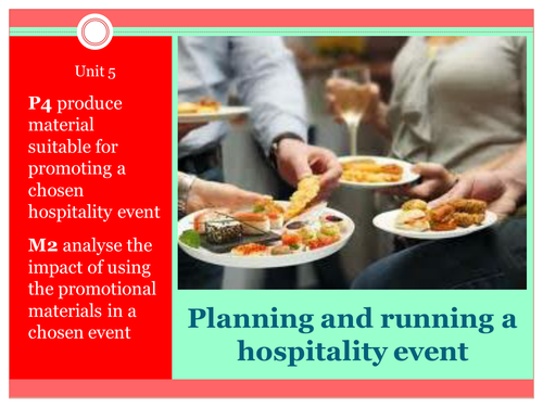 BTEC First Hospitality Unit 5 - planning an event