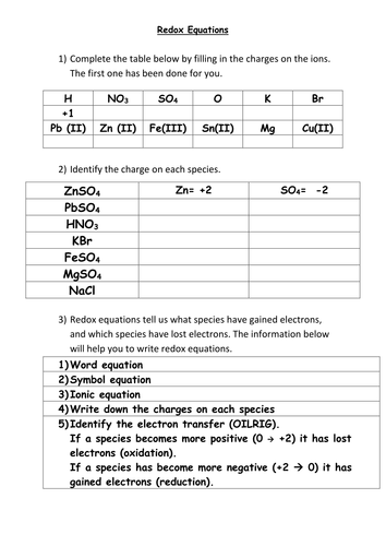 Redox Equations Help Sheet By Kiza16 Teaching Resources Tes