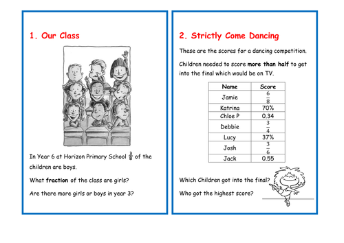Word Problem Cards Fractions And Percentages By