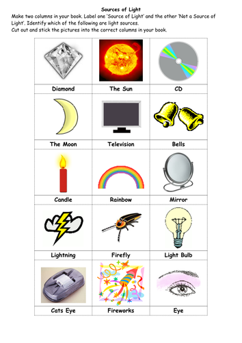Printables Natural And Artificial Sources Of Light Worksheet sources of light worksheet davezan versaldobip