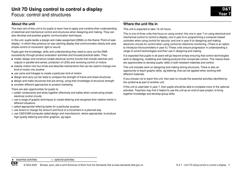 Unit 7d: Control and structures: Product Eval 6