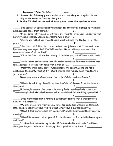 Romeo & Juliet: Revision Quiz Activity Worksheet!