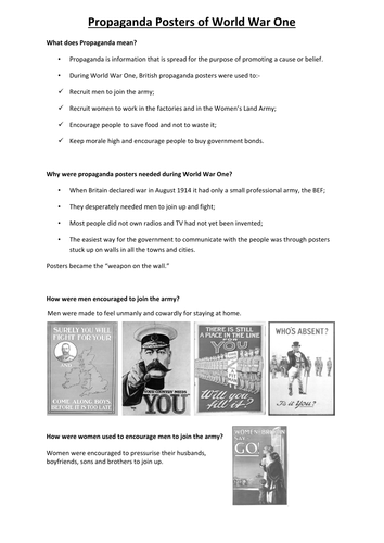 Propaganda Posters World War One by minnie123 - Teaching Resources - Tes