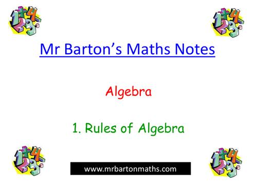 Notes - Algebra - 1. Rules of Algebra