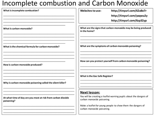 Incomplete Combustion Carbon Monoxide Worksheet By