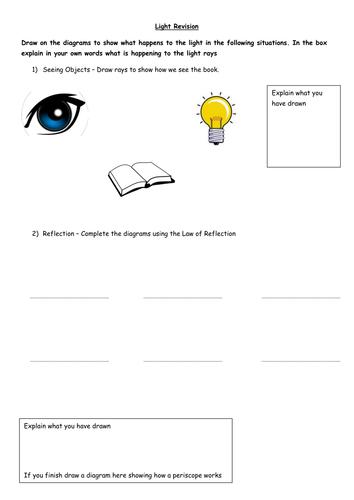 light revision worksheet by klawrie1107 teaching resources. Black Bedroom Furniture Sets. Home Design Ideas