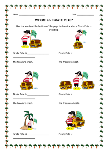 Pirate direction worksheet by Hilly577 - Teaching Resources - TES