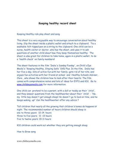 Keeping healthy role play sheet and song by childseyemedia