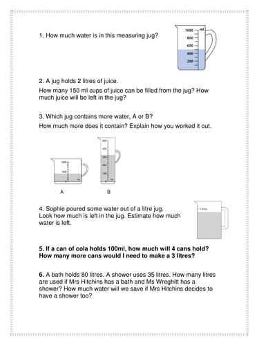 capacity worksheet by neilarths teaching resources. Black Bedroom Furniture Sets. Home Design Ideas