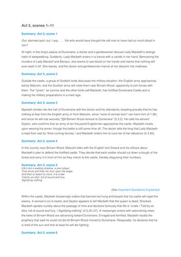 Macbeth Study Notes: Printable Worksheet Handouts by emlynsarchive ...
