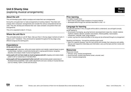 Unit 6: Shanty time: Making an arrangement (1)