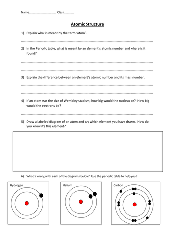 Worksheet Atom Structure Worksheet atomic structure worksheet by edp10ch teaching resources tes preview resource