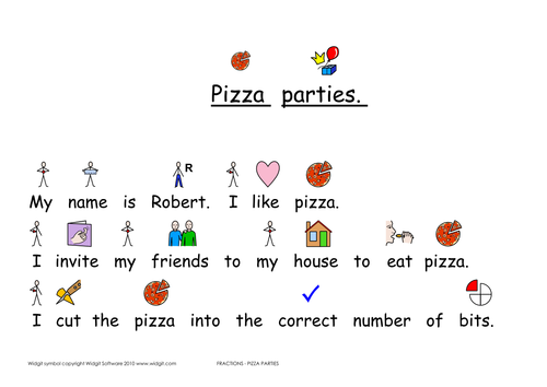Fractions - pizza parties