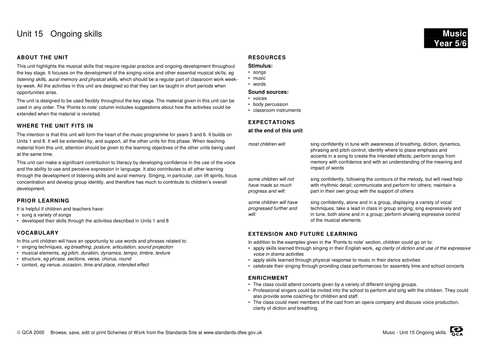 Unit 15: Ongoing skills: Singing songs (2)