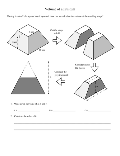 pyramids and frustums volumes worksheet by kevinbertman teaching resources tes. Black Bedroom Furniture Sets. Home Design Ideas