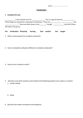 Combustion worksheet by edp10ch - Teaching Resources - Tes