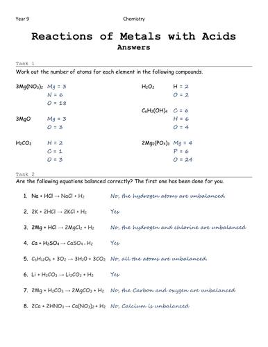 Metals and Acids: Balancing Equations (WS+Answers)