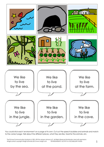 Environments - Activity and vocabulary
