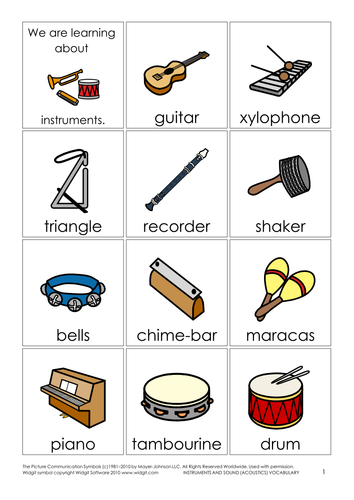 Instruments and sound (acoustics) vocabulary