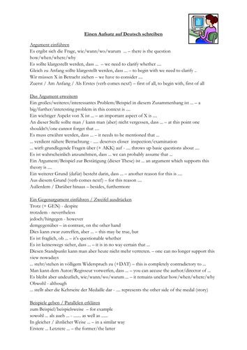german alevel essay writing phrases by frausue  teaching resources  german essay phrases with translations